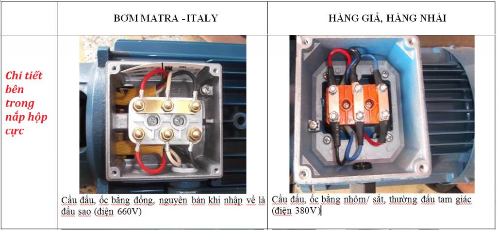 Phân biệt nắp hộp cực của 2 máy bơm ly tâm CM.chuẩn