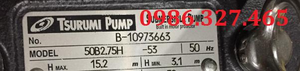 Máy bơm Tsurumi 50B2.75H, bơm nước Tsurumi 1Hp,